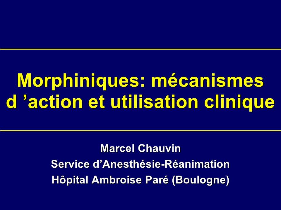 Morphiniques: mécanismes d action et utilisation clinique Marcel Chauvin Service dAnesthésie-Réanimation Hôpital Ambroise Paré (Boulogne)