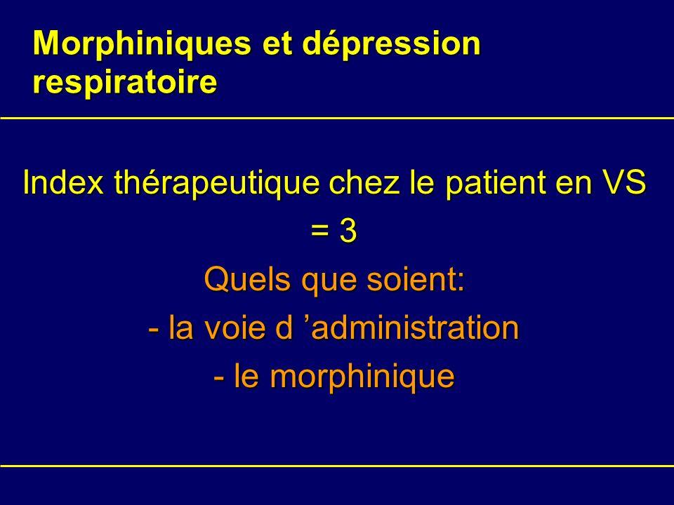 Morphiniques et dépression respiratoire Index thérapeutique chez le patient en VS = 3 Quels que soient: - la voie d administration - le morphinique