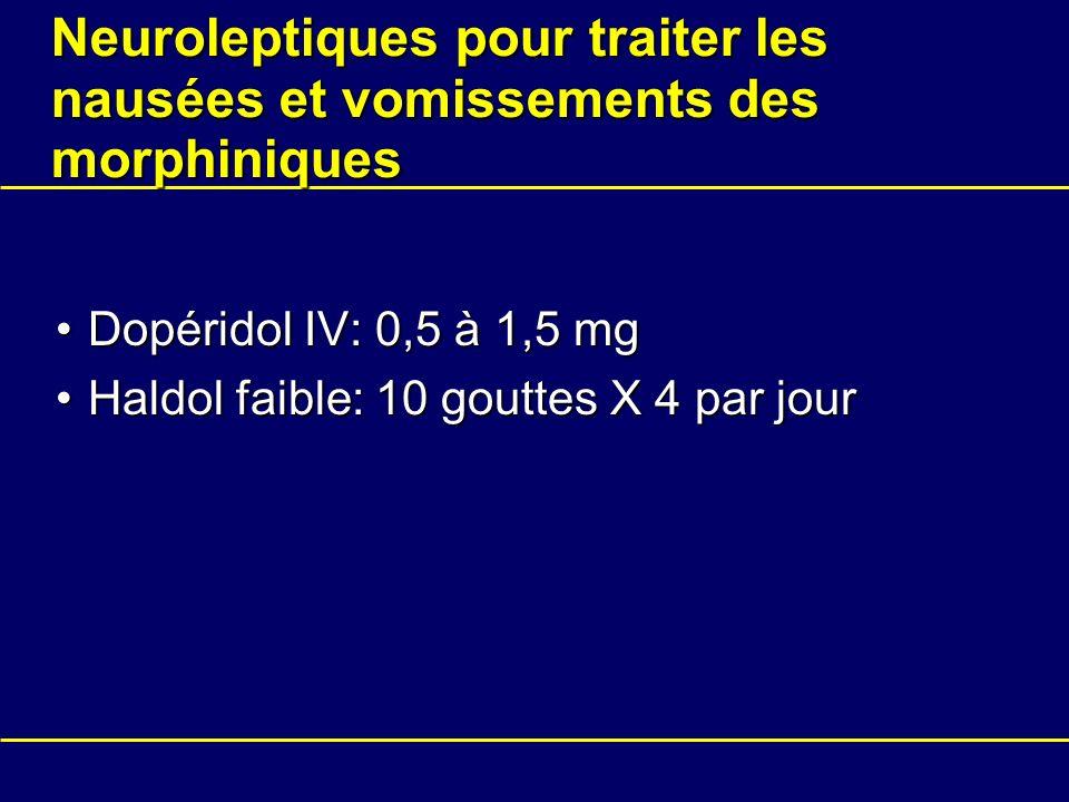 Neuroleptiques pour traiter les nausées et vomissements des morphiniques Dopéridol IV: 0,5 à 1,5 mgDopéridol IV: 0,5 à 1,5 mg Haldol faible: 10 goutte
