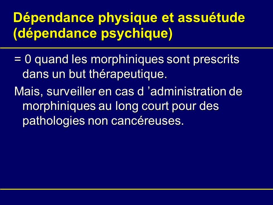 Dépendance physique et assuétude (dépendance psychique) = 0 quand les morphiniques sont prescrits dans un but thérapeutique. Mais, surveiller en cas d