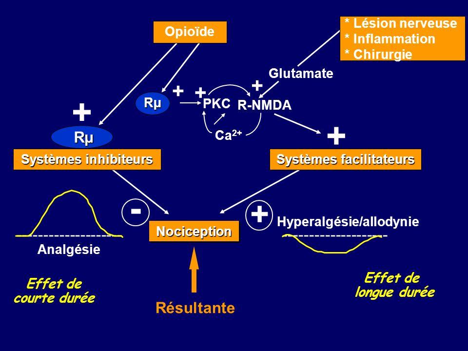 NociceptionNociception -------------------- Analgésie OP3 Rµ Rµ - + Résultante + + Rµ Opioïde Systèmes inhibiteurs Effet de courte durée + -----------