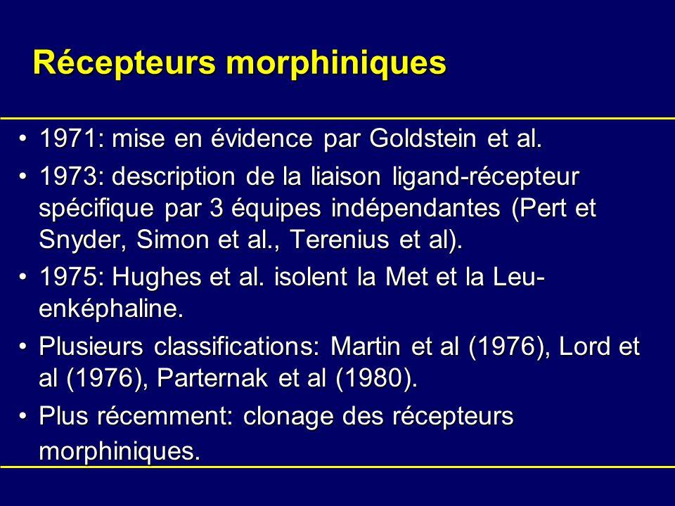 Récepteurs morphiniques 1971: mise en évidence par Goldstein et al.1971: mise en évidence par Goldstein et al. 1973: description de la liaison ligand-