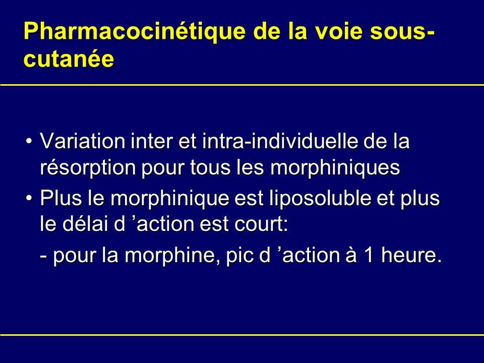 Pharmacocinétique de la voie sous- cutanée Variation inter et intra-individuelle de la résorption pour tous les morphiniquesVariation inter et intra-i