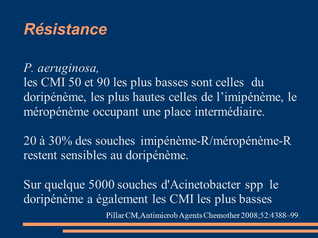 Résistance P. aeruginosa, les CMI 50 et 90 les plus basses sont celles du doripénème, les plus hautes celles de limipénème, le méropénème occupant une