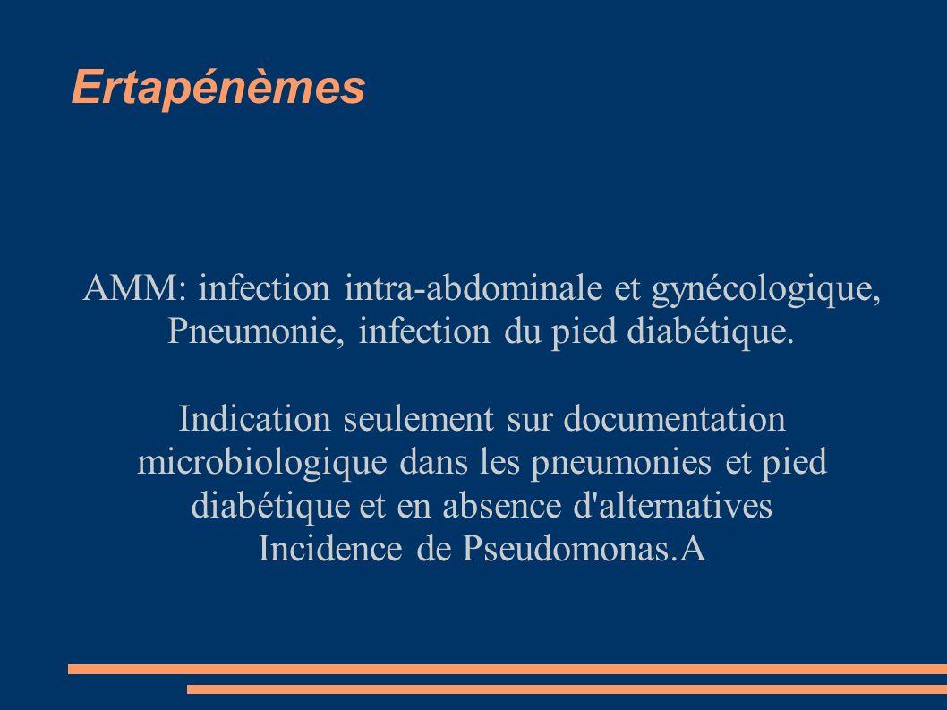 Ertapénèmes AMM: infection intra-abdominale et gynécologique, Pneumonie, infection du pied diabétique. Indication seulement sur documentation microbio