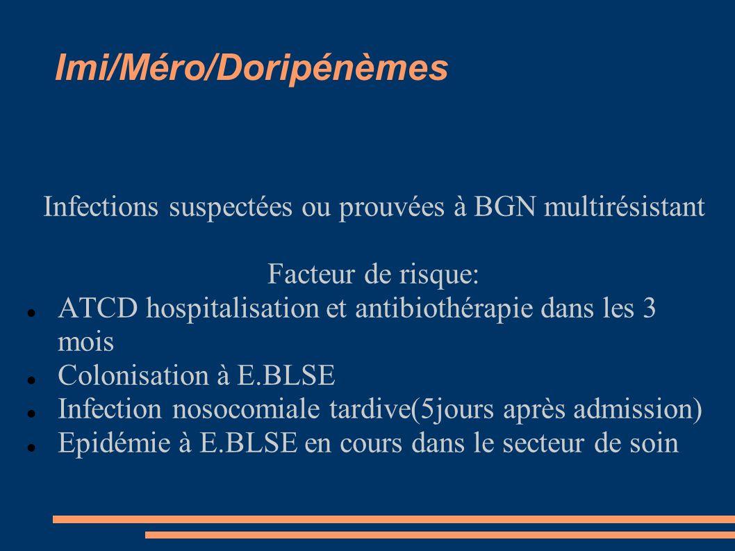 Imi/Méro/Doripénèmes Infections suspectées ou prouvées à BGN multirésistant Facteur de risque: ATCD hospitalisation et antibiothérapie dans les 3 mois Colonisation à E.BLSE Infection nosocomiale tardive(5jours après admission) Epidémie à E.BLSE en cours dans le secteur de soin