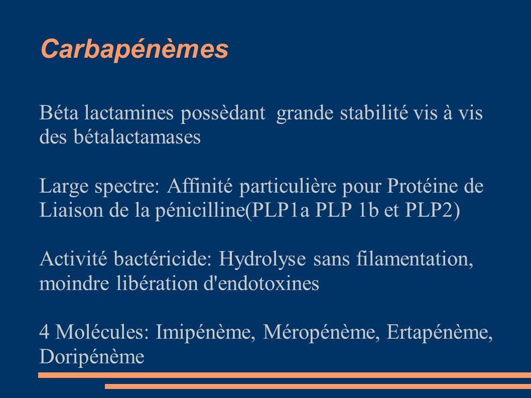 Carbapénèmes Béta lactamines possèdant grande stabilité vis à vis des bétalactamases Large spectre: Affinité particulière pour Protéine de Liaison de la pénicilline(PLP1a PLP 1b et PLP2) Activité bactéricide: Hydrolyse sans filamentation, moindre libération d endotoxines 4 Molécules: Imipénème, Méropénème, Ertapénème, Doripénème