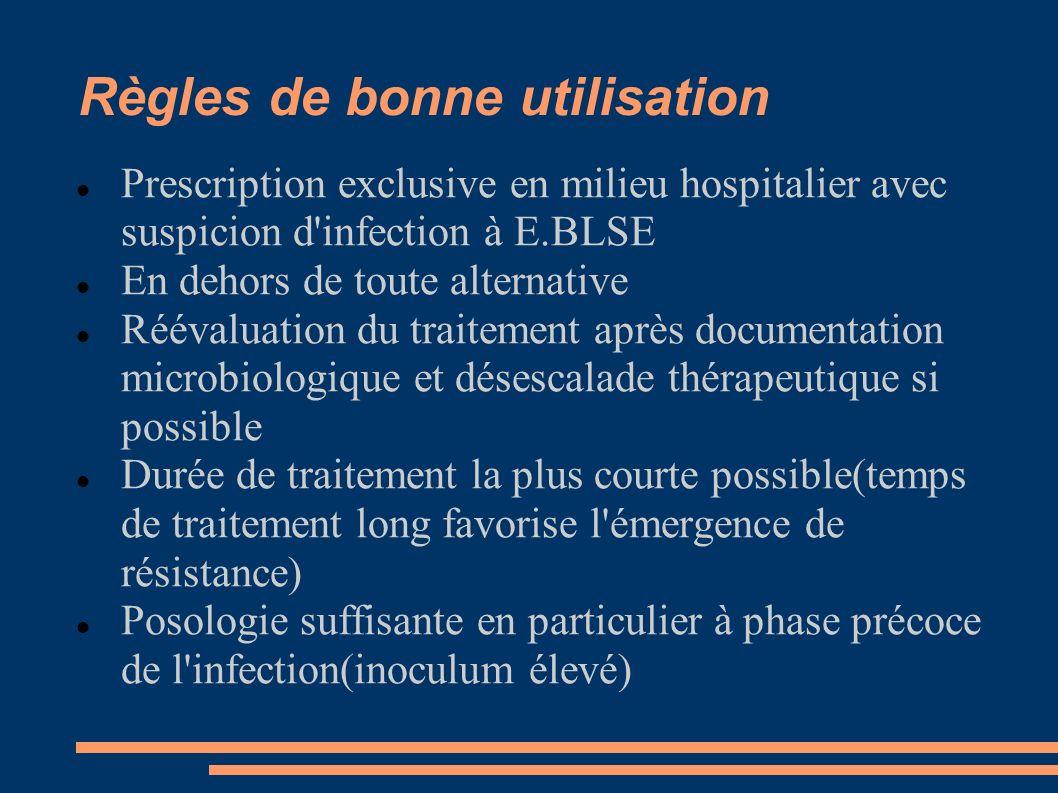 Règles de bonne utilisation Prescription exclusive en milieu hospitalier avec suspicion d'infection à E.BLSE En dehors de toute alternative Réévaluati