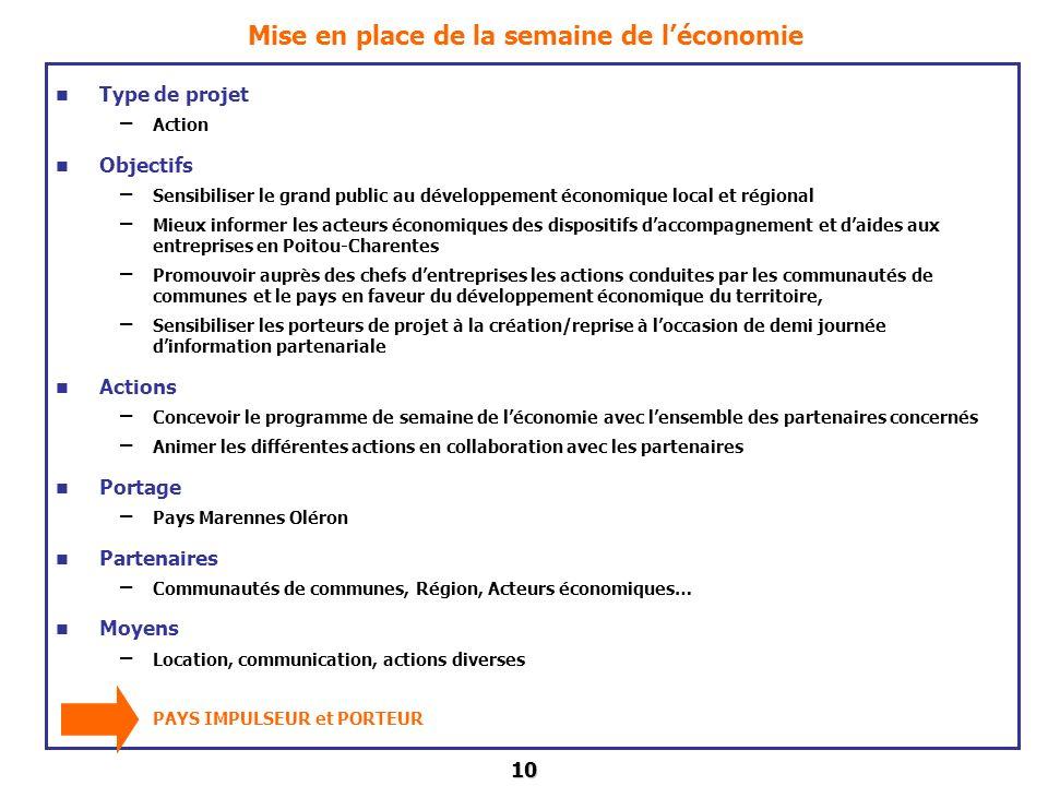 10 Mise en place de la semaine de léconomie Type de projet – Action Objectifs – Sensibiliser le grand public au développement économique local et régi
