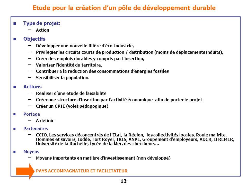13 Etude pour la création dun pôle de développement durable Type de projet: – Action Objectifs – Développer une nouvelle filière déco-industrie, – Pri