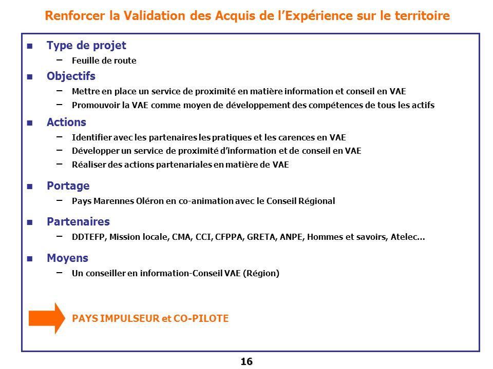 16 Renforcer la Validation des Acquis de lExpérience sur le territoire Type de projet – Feuille de route Objectifs – Mettre en place un service de pro