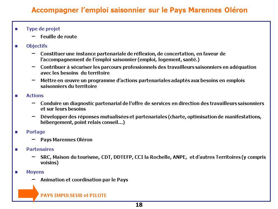 18 Accompagner lemploi saisonnier sur le Pays Marennes Oléron Type de projet – Feuille de route Objectifs – Constituer une instance partenariale de ré