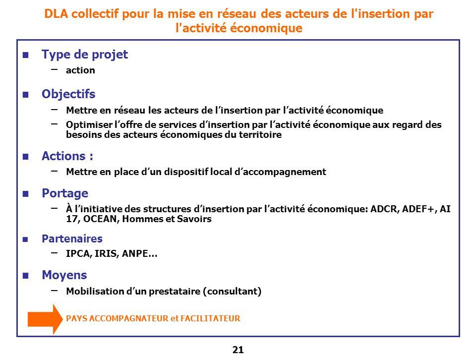 21 DLA collectif pour la mise en réseau des acteurs de l'insertion par l'activité économique Type de projet – action Objectifs – Mettre en réseau les