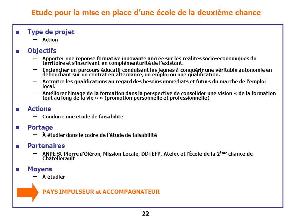 22 Etude pour la mise en place dune école de la deuxième chance Type de projet – Action Objectifs – Apporter une réponse formative innovante ancrée su