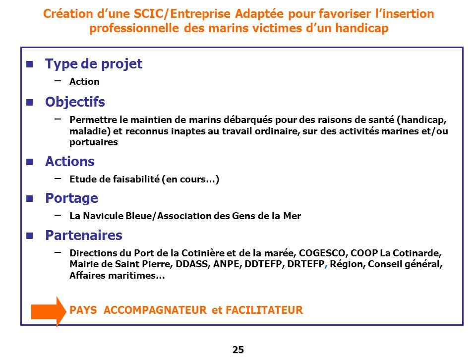 25 Création dune SCIC/Entreprise Adaptée pour favoriser linsertion professionnelle des marins victimes dun handicap Type de projet – Action Objectifs