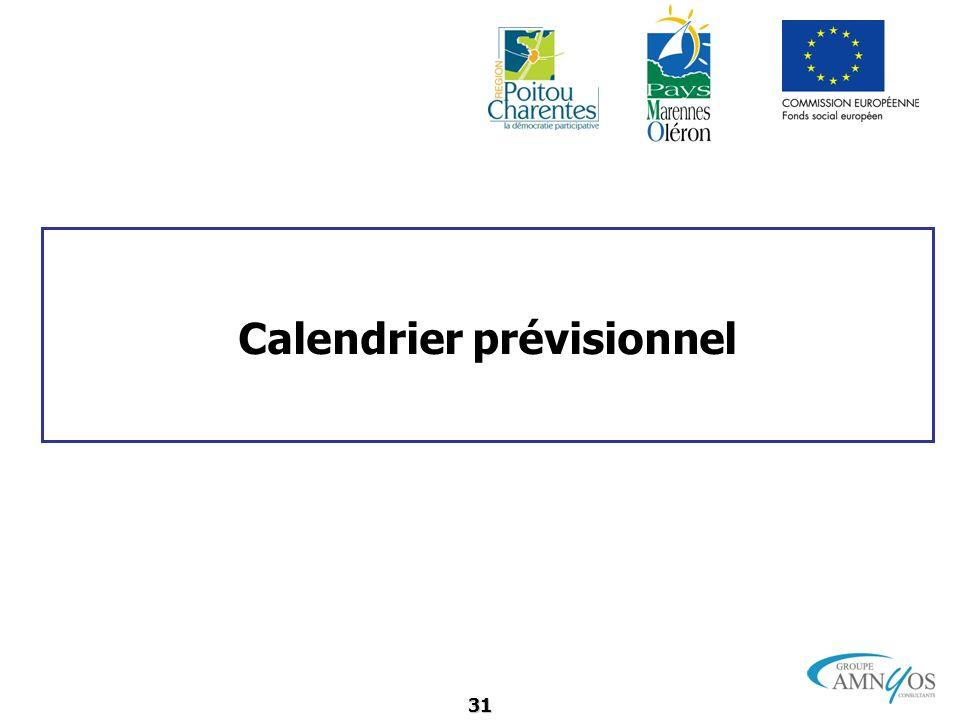 31 Calendrier prévisionnel