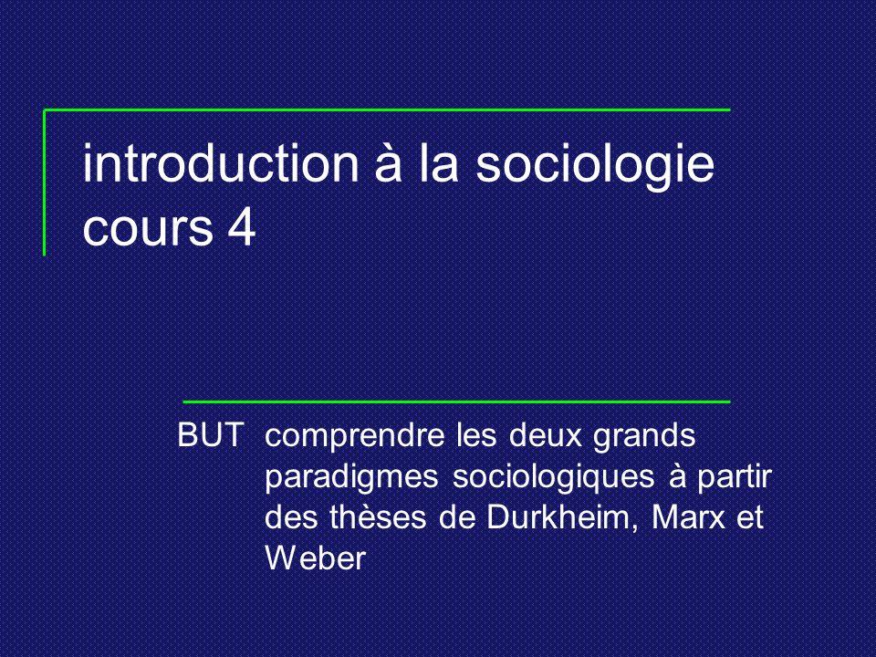 introduction à la sociologie cours 4 BUTcomprendre les deux grands paradigmes sociologiques à partir des thèses de Durkheim, Marx et Weber