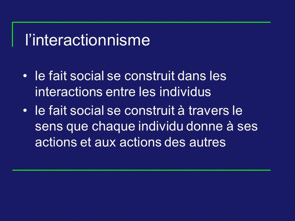 linteractionnisme le fait social se construit dans les interactions entre les individus le fait social se construit à travers le sens que chaque individu donne à ses actions et aux actions des autres