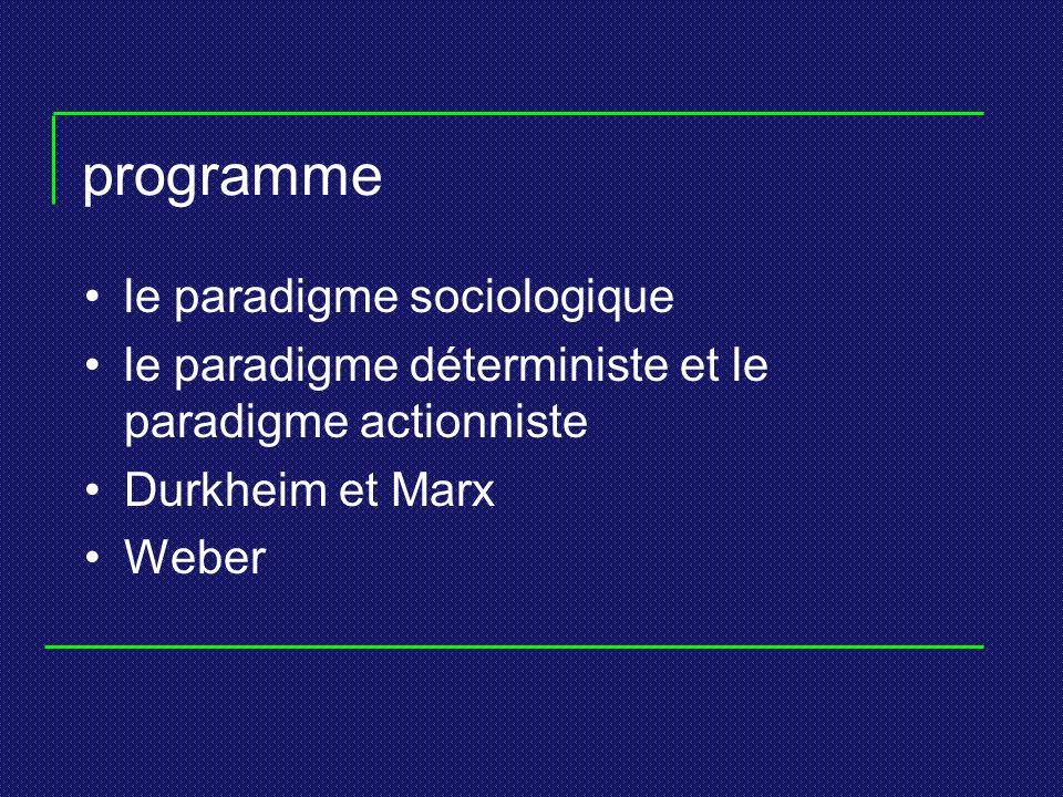 le paradigme sociologique « Ensemble dénoncés portant, non sur tel ou tel aspect des sociétés, mais sur la manière dont le sociologue doit procéder pour construire une théorie visant à expliquer tels ou tels aspects des sociétés ».