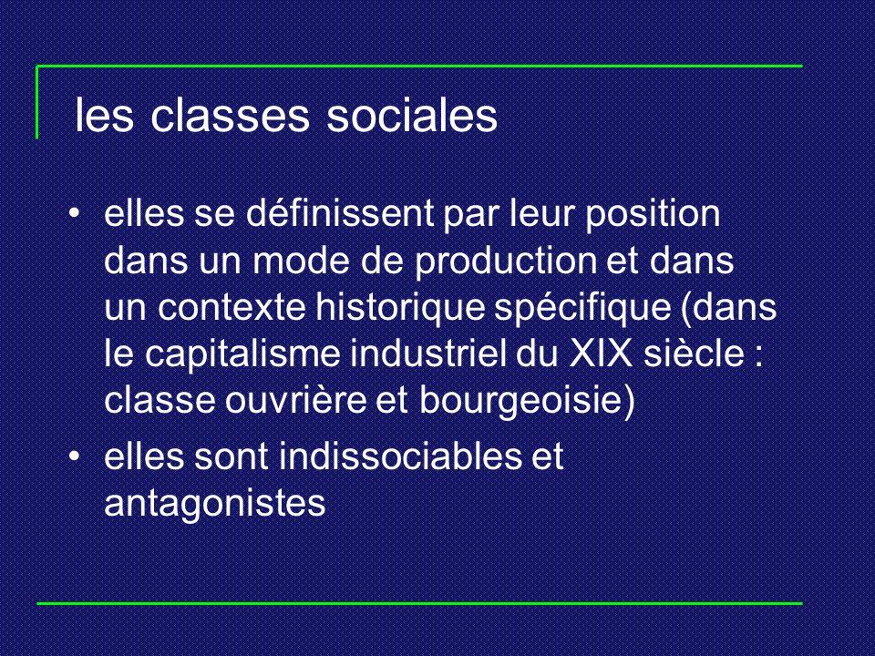 les classes sociales elles se définissent par leur position dans un mode de production et dans un contexte historique spécifique (dans le capitalisme