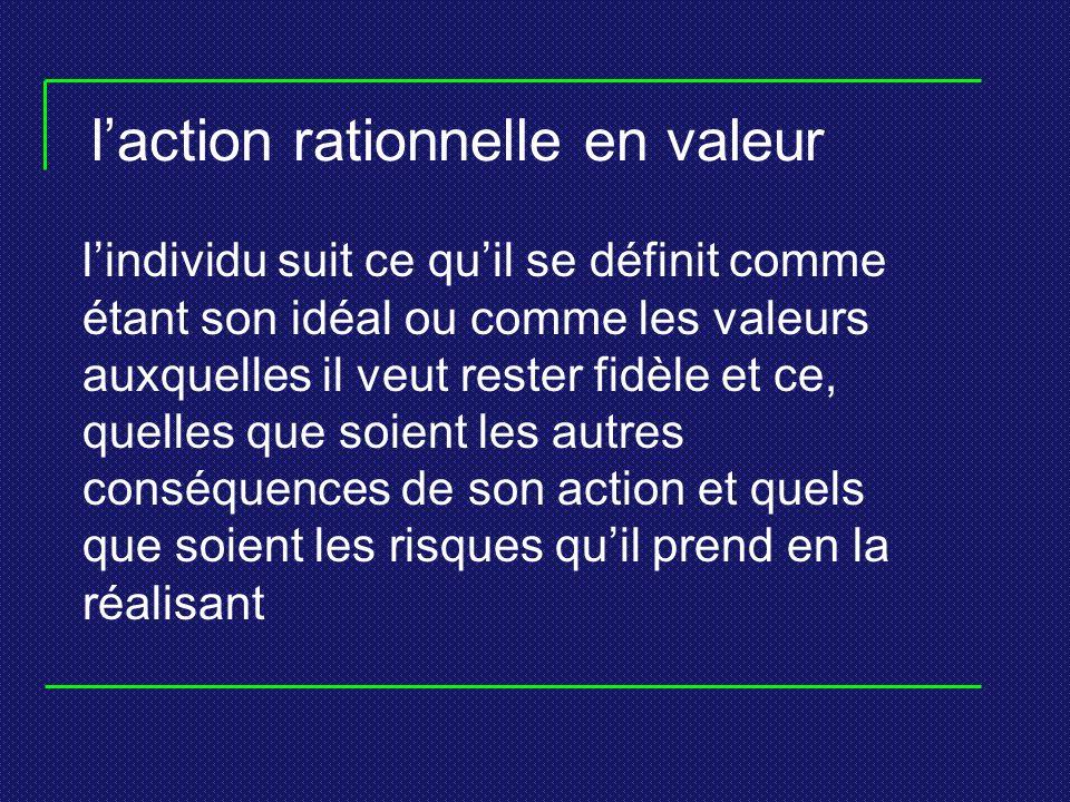 laction rationnelle en valeur lindividu suit ce quil se définit comme étant son idéal ou comme les valeurs auxquelles il veut rester fidèle et ce, quelles que soient les autres conséquences de son action et quels que soient les risques quil prend en la réalisant