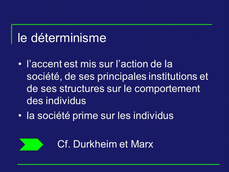 le déterminisme laccent est mis sur laction de la société, de ses principales institutions et de ses structures sur le comportement des individus la s