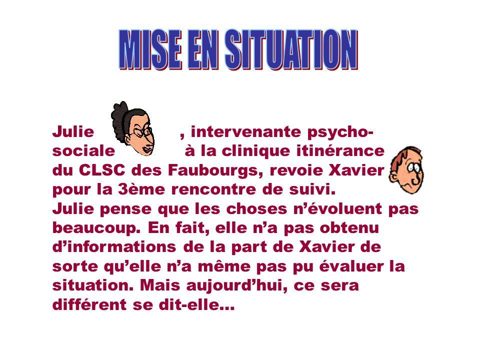 Julie, intervenante psycho- sociale à la clinique itinérance du CLSC des Faubourgs, revoie Xavier pour la 3ème rencontre de suivi. Julie pense que les