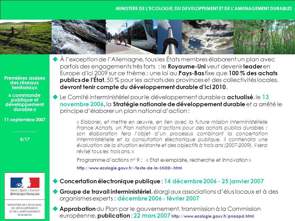 MINISTERE DE LECOLOGIE, DU DEVELOPPEMENT ET DE LAMENAGEMENT DURABLES 5/17 Premières assises des réseaux territoriaux « commande publique et développement durable » 11 septembre 2007 2.