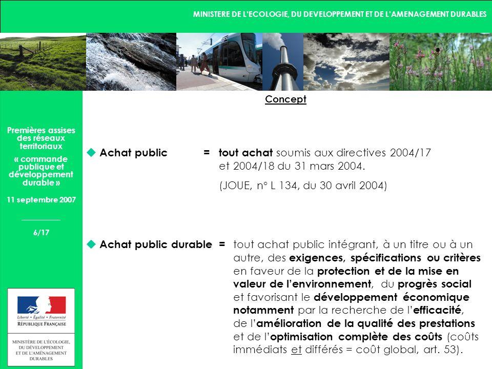 MINISTERE DE LECOLOGIE, DU DEVELOPPEMENT ET DE LAMENAGEMENT DURABLES 7/17 Premières assises des réseaux territoriaux « commande publique et développement durable » 11 septembre 2007 Table des matières PRÉAMBULE................................................................................................................................1 PARTIE I : TERMES DE RÉFÉRENCES............................................................................................2 Chapitre I : Origine et historique.............................................................................................2 Chapitre II : État des lieux........................................................................................................9 II.1 Cadre réglementaire.........................................................................................................9 II.2 Objectifs..............................................................................................................................9 II.3 Outils daide aux acheteurs publics.................................................................................12 II.4 Outils de formation des acheteurs publics......................................................................15 II.5 Outils de sensibilisation.......................................................................................................16 II.6 Organisation des acteurs..................................................................................................17 II.7 Suivi et évaluation..............................................................................................................22 Chapitre III : Concept..............................................................................................................24 PARTIE II : OBJECTIFS, ACTIONS ET SUIVI.................................................................................28 Chapitre IV : Objectifs.........................................................................