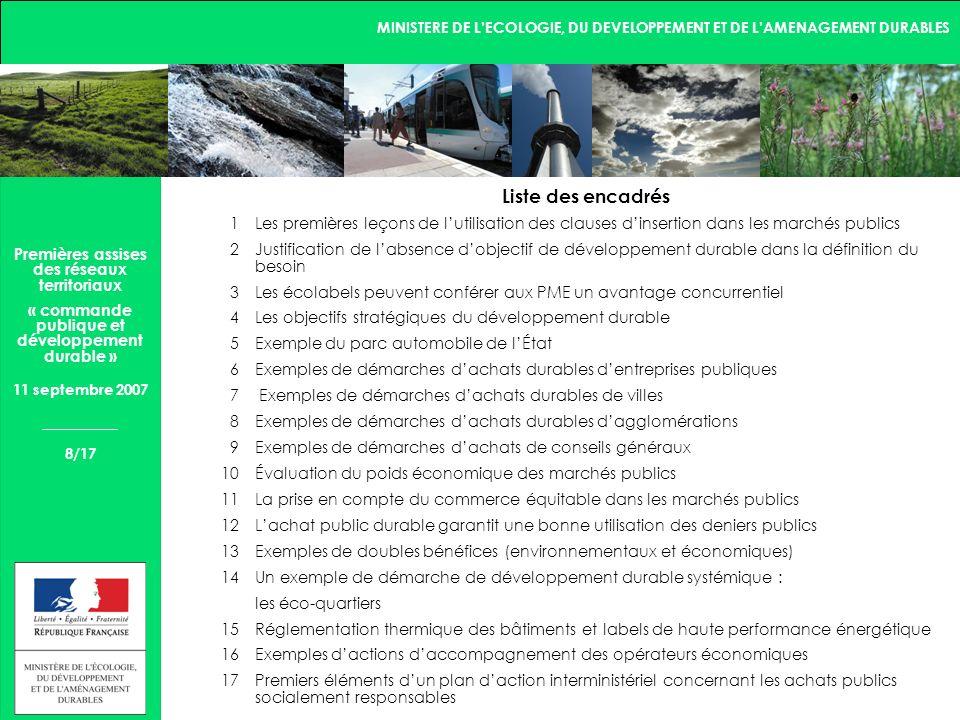 MINISTERE DE LECOLOGIE, DU DEVELOPPEMENT ET DE LAMENAGEMENT DURABLES 9/17 Premières assises des réseaux territoriaux « commande publique et développement durable » 11 septembre 2007 3.