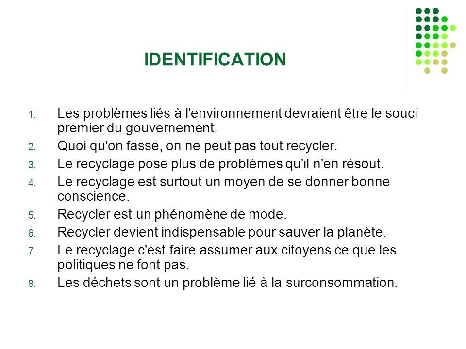 IDENTIFICATION 1. Les problèmes liés à l'environnement devraient être le souci premier du gouvernement. 2. Quoi qu'on fasse, on ne peut pas tout recyc
