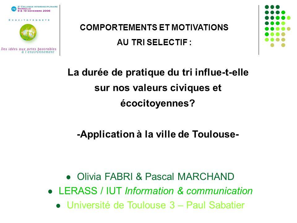 Olivia FABRI & Pascal MARCHAND LERASS / IUT Information & communication Université de Toulouse 3 – Paul Sabatier COMPORTEMENTS ET MOTIVATIONS AU TRI S