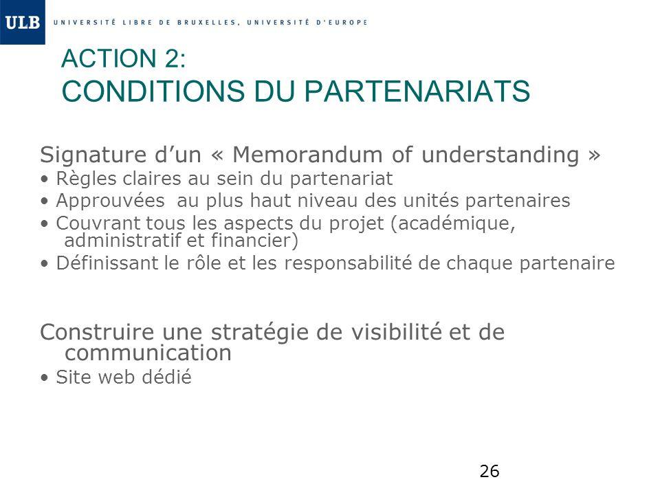 26 ACTION 2: CONDITIONS DU PARTENARIATS Signature dun « Memorandum of understanding » Règles claires au sein du partenariat Approuvées au plus haut ni