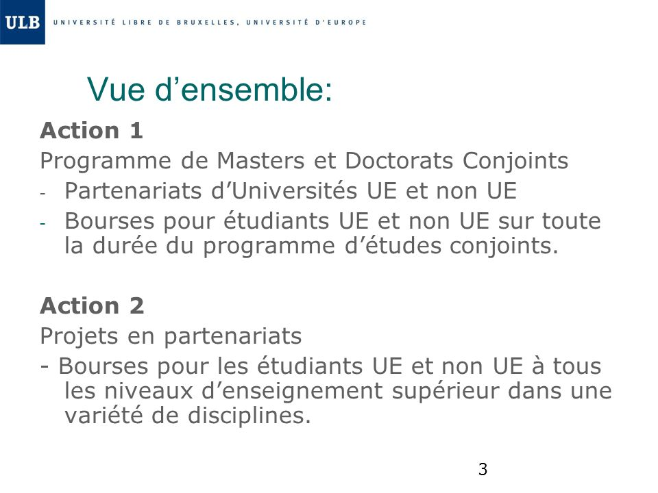 34 Sites web: http://eacea.ec.europa.eu/erasmus_mund us/funding/higher_education_institutions _en.php www.ulb.ac.be/international