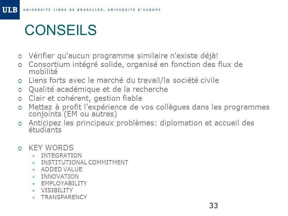33 CONSEILS Vérifier qu'aucun programme similaire n'existe déjà! Consortium intégré solide, organisé en fonction des flux de mobilité Liens forts avec