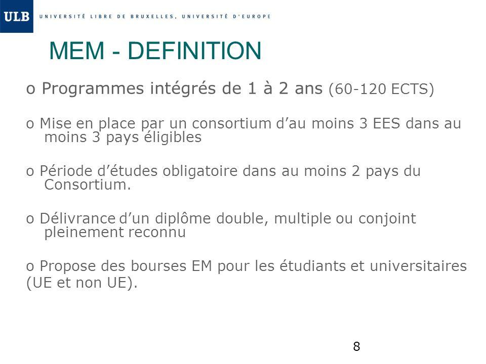 8 MEM - DEFINITION o Programmes intégrés de 1 à 2 ans (60-120 ECTS) o Mise en place par un consortium dau moins 3 EES dans au moins 3 pays éligibles o