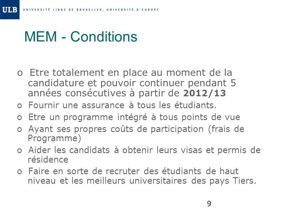 9 MEM - Conditions o Etre totalement en place au moment de la candidature et pouvoir continuer pendant 5 années consécutives à partir de 2012/13 o Fou