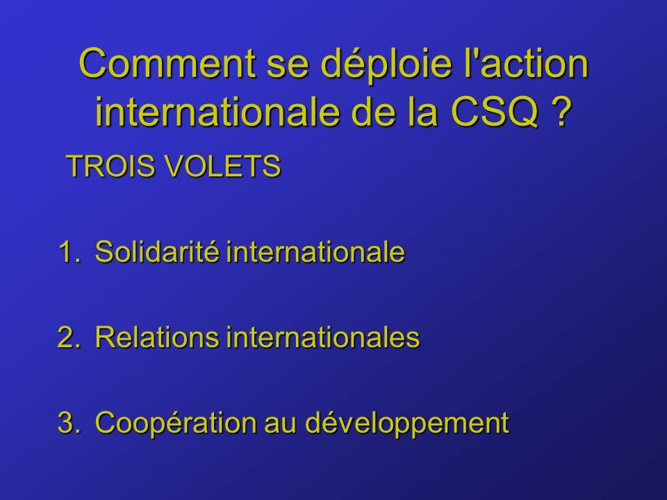 Comment se déploie l action internationale de la CSQ .