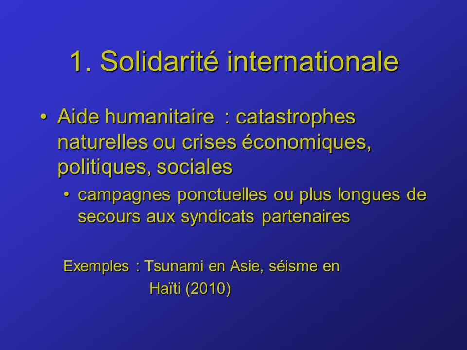 1. Solidarité internationale Aide humanitaire : catastrophes naturelles ou crises économiques, politiques, socialesAide humanitaire : catastrophes nat