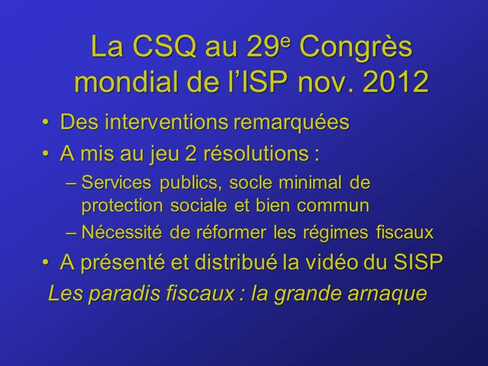 La CSQ au 29 e Congrès mondial de lISP nov.