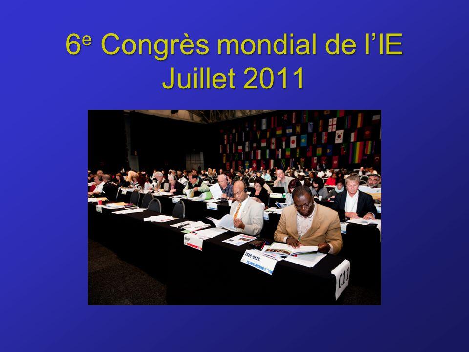 6 e Congrès mondial de lIE Juillet 2011