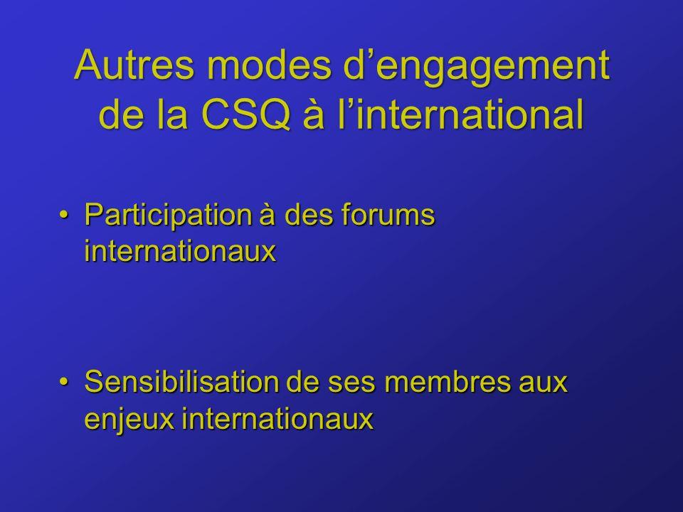 Autres modes dengagement de la CSQ à linternational Participation à des forums internationauxParticipation à des forums internationaux Sensibilisation de ses membres aux enjeux internationauxSensibilisation de ses membres aux enjeux internationaux
