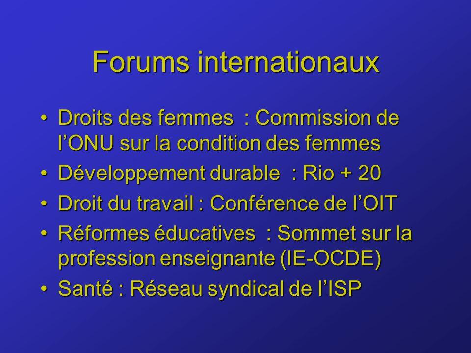 Forums internationaux Droits des femmes : Commission de lONU sur la condition des femmesDroits des femmes : Commission de lONU sur la condition des femmes Développement durable : Rio + 20Développement durable : Rio + 20 Droit du travail : Conférence de lOITDroit du travail : Conférence de lOIT Réformes éducatives : Sommet sur la profession enseignante (IE-OCDE)Réformes éducatives : Sommet sur la profession enseignante (IE-OCDE) Santé : Réseau syndical de lISPSanté : Réseau syndical de lISP