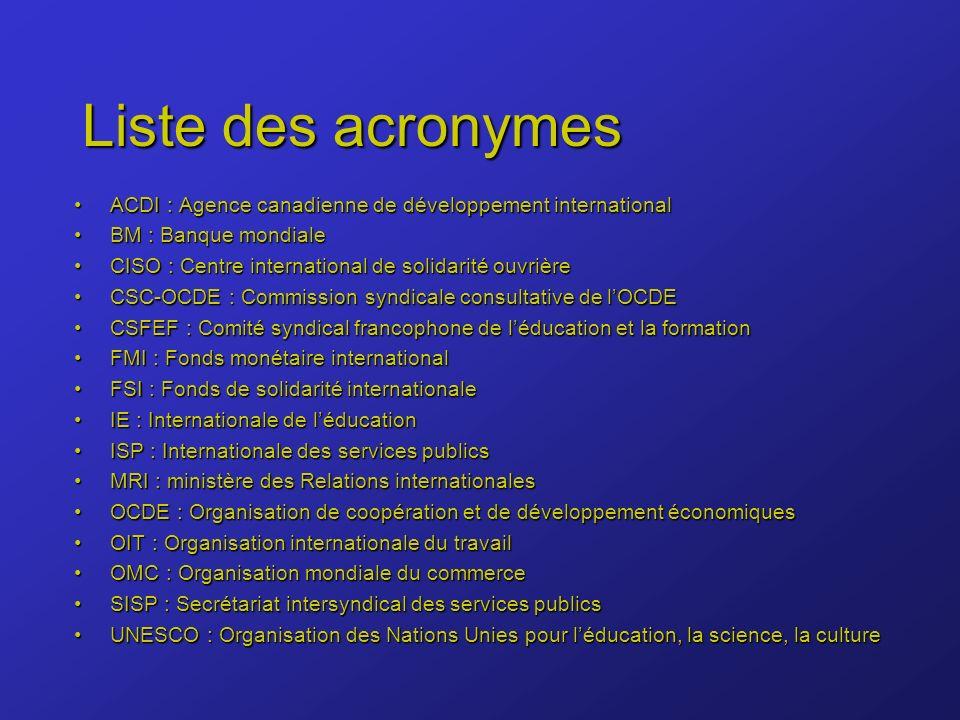 Liste des acronymes ACDI : Agence canadienne de développement internationalACDI : Agence canadienne de développement international BM : Banque mondialeBM : Banque mondiale CISO : Centre international de solidarité ouvrièreCISO : Centre international de solidarité ouvrière CSC-OCDE : Commission syndicale consultative de lOCDECSC-OCDE : Commission syndicale consultative de lOCDE CSFEF : Comité syndical francophone de léducation et la formationCSFEF : Comité syndical francophone de léducation et la formation FMI : Fonds monétaire internationalFMI : Fonds monétaire international FSI : Fonds de solidarité internationaleFSI : Fonds de solidarité internationale IE : Internationale de léducationIE : Internationale de léducation ISP : Internationale des services publicsISP : Internationale des services publics MRI : ministère des Relations internationalesMRI : ministère des Relations internationales OCDE : Organisation de coopération et de développement économiquesOCDE : Organisation de coopération et de développement économiques OIT : Organisation internationale du travailOIT : Organisation internationale du travail OMC : Organisation mondiale du commerceOMC : Organisation mondiale du commerce SISP : Secrétariat intersyndical des services publicsSISP : Secrétariat intersyndical des services publics UNESCO : Organisation des Nations Unies pour léducation, la science, la cultureUNESCO : Organisation des Nations Unies pour léducation, la science, la culture