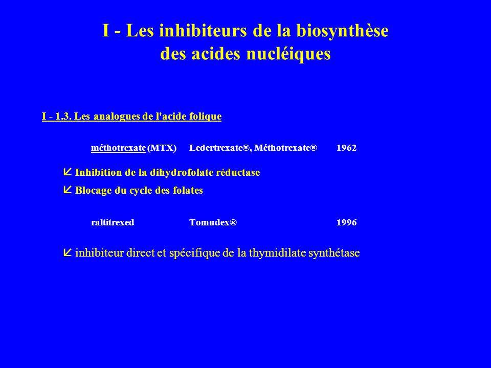 I - Les inhibiteurs de la biosynthèse des acides nucléiques I - 1.3.