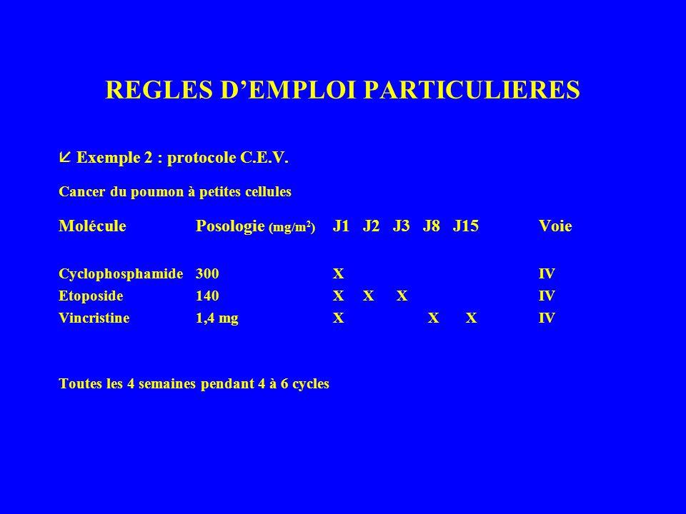 REGLES DEMPLOI PARTICULIERES Exemple 2 : protocole C.E.V.