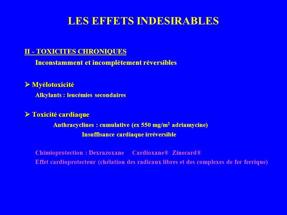 LES EFFETS INDESIRABLES II - TOXICITES CHRONIQUES Inconstamment et incomplètement réversibles Myélotoxicité Myélotoxicité Alkylants : leucémies secondaires Toxicité cardiaque Toxicité cardiaque Anthracyclines : cumulative (ex 550 mg/m 2 adriamycine) Insuffisance cardiaque irréversible Chimioprotection : Dexrazoxane Cardioxane® Zinecard® Effet cardioprotecteur (chélation des radicaux libres et des complexes de fer ferrique)