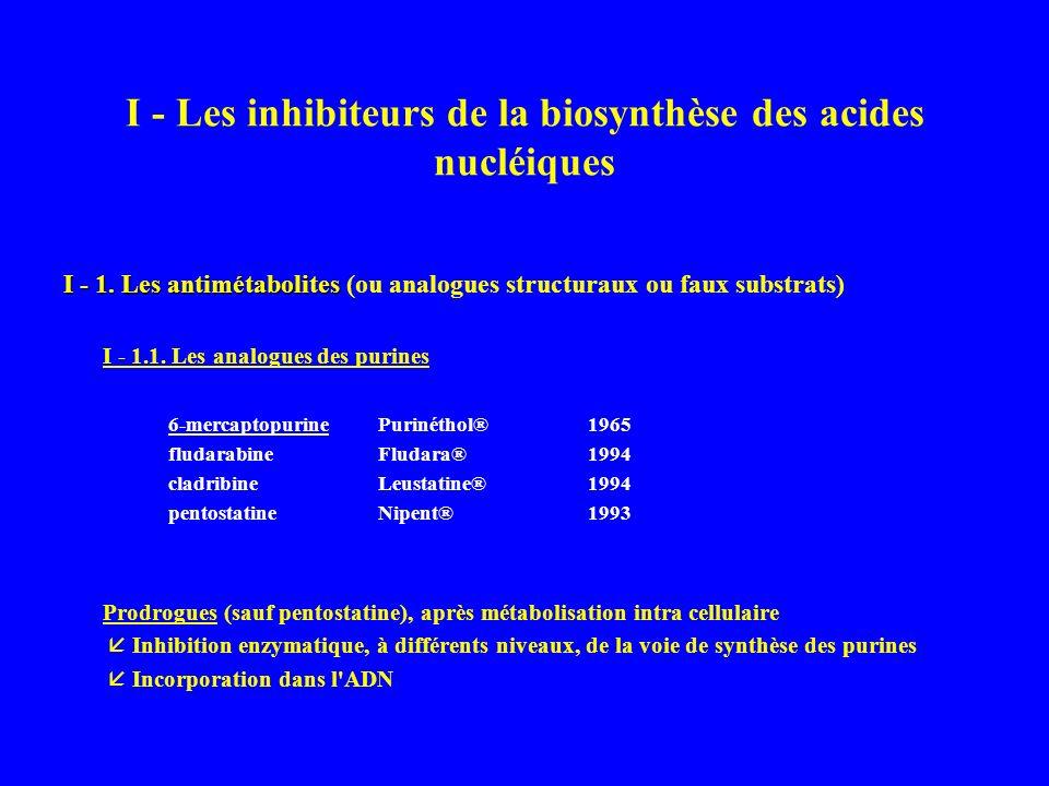 I - Les inhibiteurs de la biosynthèse des acides nucléiques I - 1.