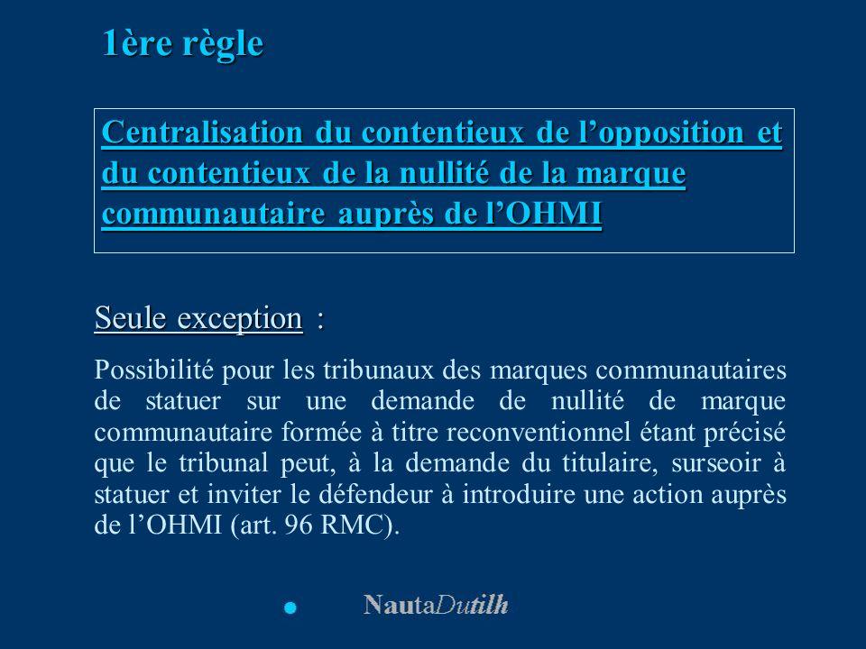 1ère règle Centralisation du contentieux de lopposition et du contentieux de la nullité de la marque communautaire auprès de lOHMI Seule exception : P