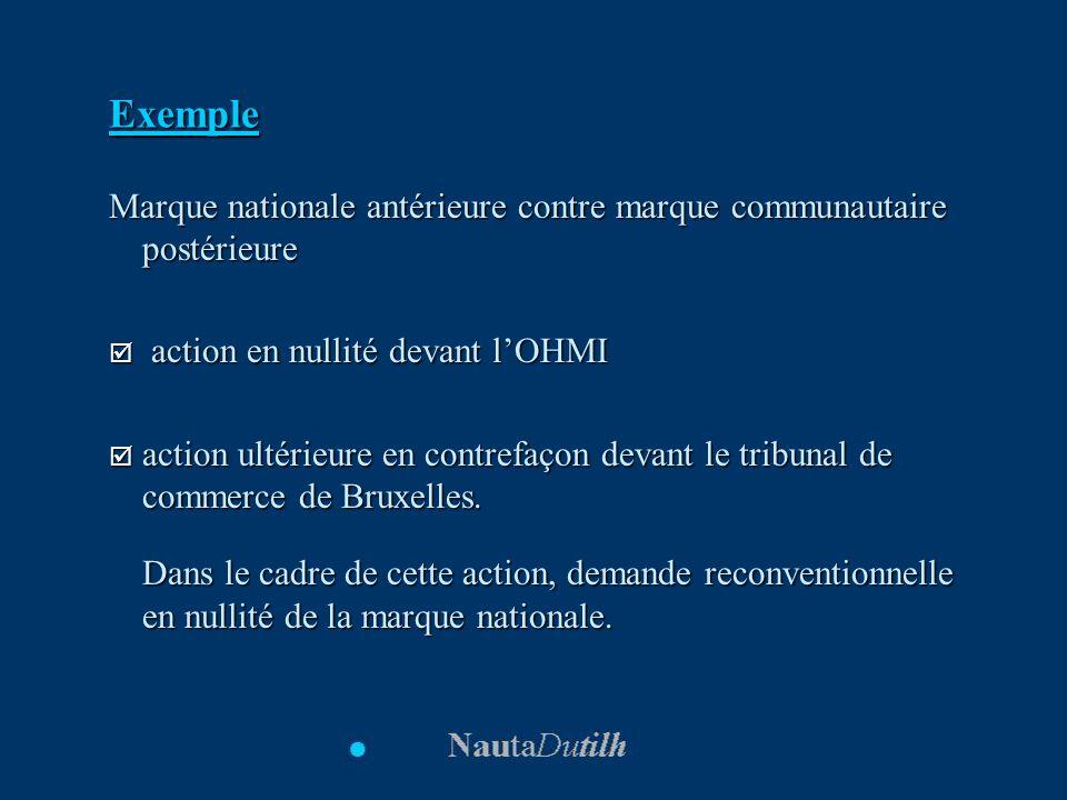 Exemple Marque nationale antérieure contre marque communautaire postérieure action en nullité devant lOHMI action en nullité devant lOHMI action ultér